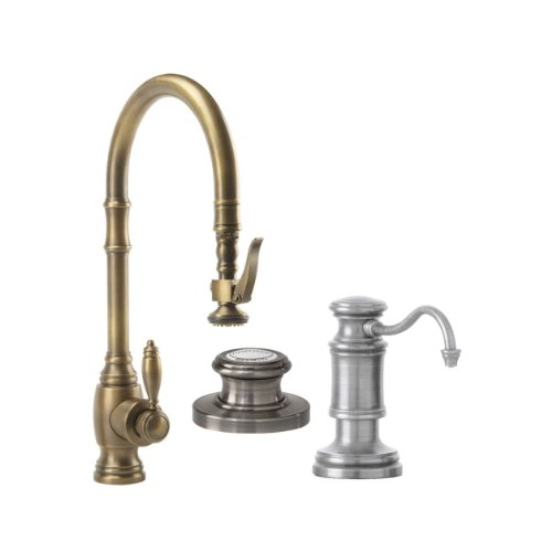 Waterstone 5600-3-SN Annapolis Kitchen Faucet Single Handle with Pullout Spray, Soap/Lotion Dispenser and Air Switch, Satin Nickel