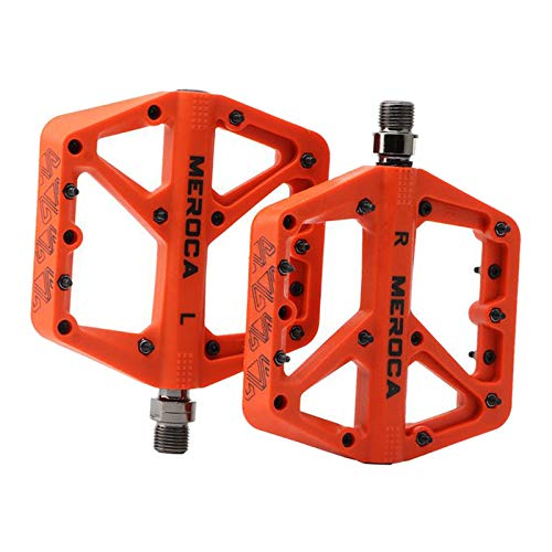 Perfeclan Pedali MTB Mountain Bike Pedali 3 Cuscinetto Antiscivolo Piattaforma Pedali della Bicicletta in Fibra di Nylon Leggero per BMX MTB 9/16' - Arancione