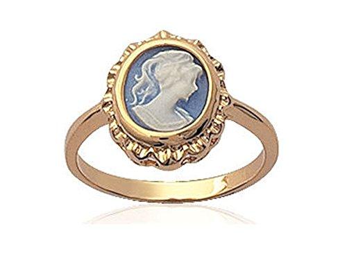 Les Plaisirs de Stella - Anello Cabochon placcato oro, in marquise blu, placcato oro, 20, cod. B2014440_60