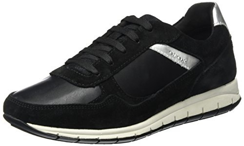 Geox Damen D Contact B Low-top, schwarz, 38 EU