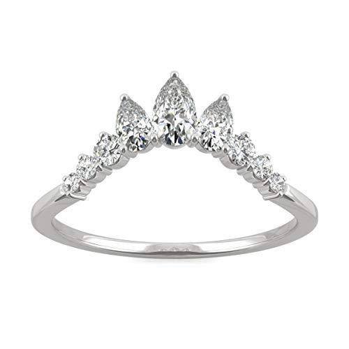 Charles & Colvard CDCSALEPRICE anillo de boda - Oro blanco 14K - Moissanita de 5.0 mm de talla pera, 0.576 ct. DEW, talla 13