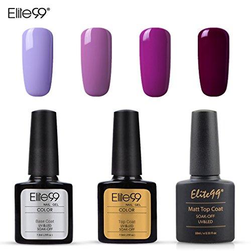 Elite99 Esmalte Semipermanente UV LED 7pcs Kit Uñas de Gel Pintauñas con Base...