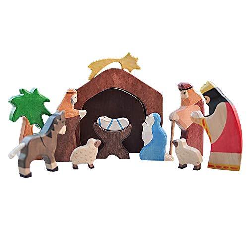 AC1 Wooden Nativity Set Wooden Manger Creche Nativity Scene Montessori Inspired Wedd
