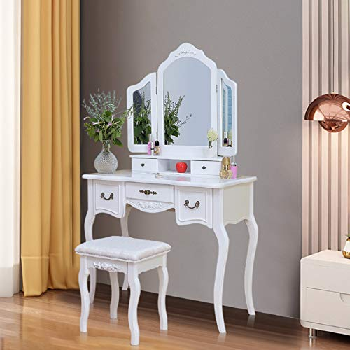 Vanity Beauty Station Makeup Table And Wooden Stool 3 Mirrors And 5 Drawers Set For Girls Women Bedroom Dresser (One Size, White)