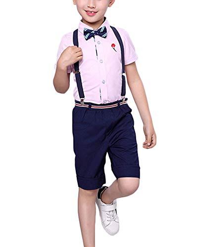 Niños Blusas Pantalones Traje De Caballero Vestido De Niña De Flores Niño Manga Corta Pink 120