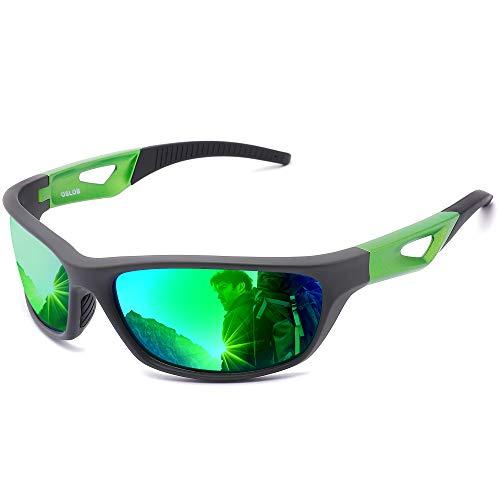 OSLOB occhiali da sole polarizzati di sport per le donne gli uomini in bicicletta in corso di guida protezione uv occhiali st003 (gry)