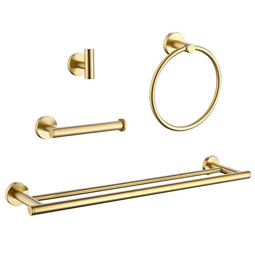 TwoBrosInt Bathroom Hardware Set 4-Piece 24-Inch Double Towel Bar Robe Hook Toilet Paper Holder Towel Ring Wall Mount Stainless Steel Brushed Gold