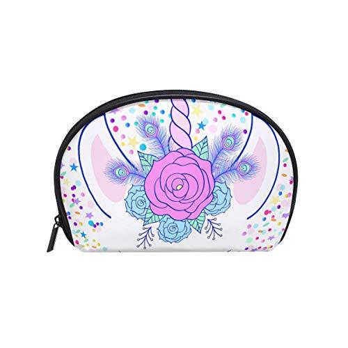 Cosmetic Bag with Zipper Rainbow Star Dot Unicorn Clutch Travel Storage Bag Organizer Case for Women Makeup Pouch Bag