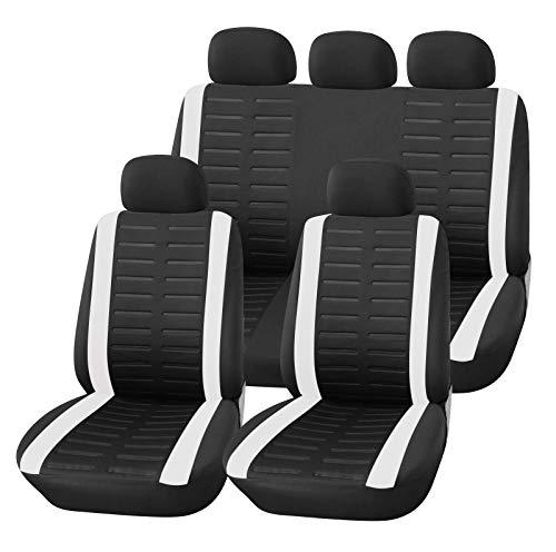 Upgrade4cars Auto-Sitzbezüge Set Universal Auto-Schonbezüge Schwarz Weiß mit Teilbarer Rückbank Auto-Zubehör Innenraum