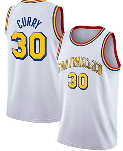 WSUN Camiseta De La NBA para Hombre, Camiseta De La NBA Golden State Warriors 30# Stephen Curry, Camiseta para Fanáticos del Baloncesto NBA Cool and Light Sports,C,M(170~175CM/65~75KG)