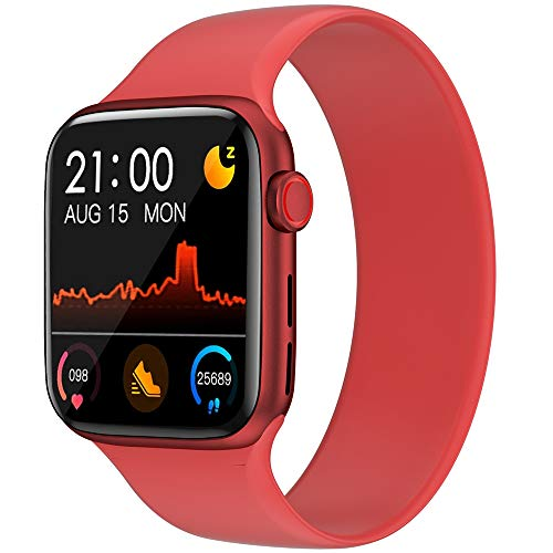 U/K OLYRICK-T Smart Watches for Men Women Bluetooth 1.54IPS Large Screen Watch Heart Pressure Monitor Fitness Tracker Sports Watch for Android Phones iPhone Rose Gold Case with Red Band