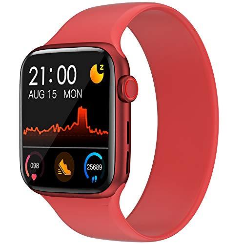 OLYRICK Relojes inteligentes para hombres y mujeres Bluetooth 1.54IPS Pantalla grande Monitor de presión cardíaca, reloj deportivo para teléfonos Android iPhone brillante rojo caja con banda roja