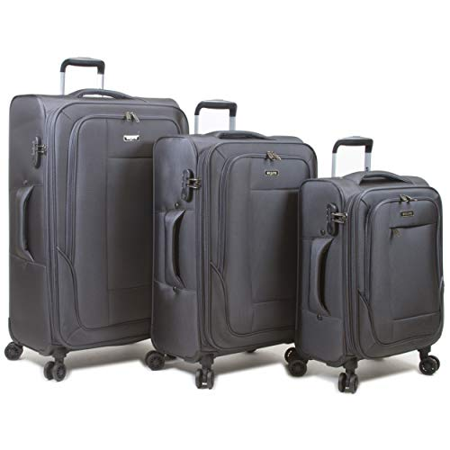 Dejuno Twilight Lightweight Nylon 3-Piece Spinner Luggage Set, Charcoal