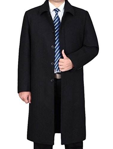 Mordenmiss Men's Wool Single Breasted Winter Trench Jacket Woolen Pea Coat Style 2 Black XL