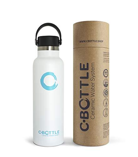 N C-Bottle - Borraccia in acciaio inox da 600 ml, con rivestimento interno in ceramica, priva di BPA e malsapori, borraccia termica resistente e leggera, ecologica