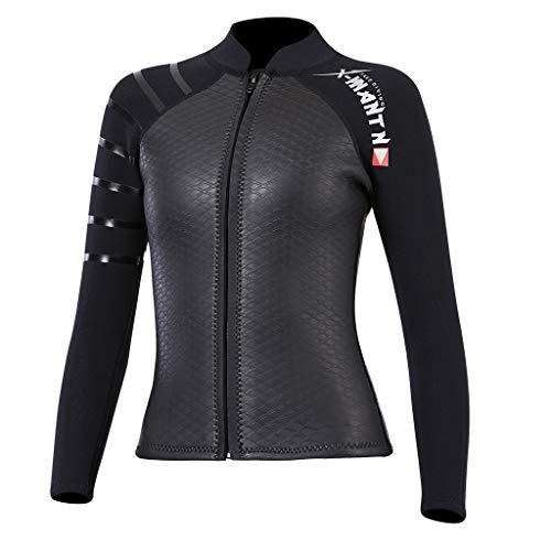 IPOTCH Frauen Tauchen Jacke 3mm Neoprenjacke Neoprenanzug Damen Top Neopren Tauchen Top für Wassersport - L