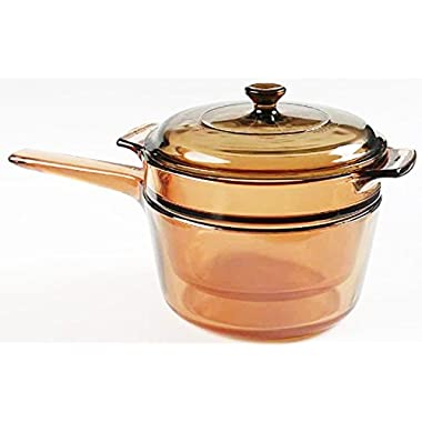 Corning Visions 1.5 Quart Double Boiler with Lid Amber Cook Pot