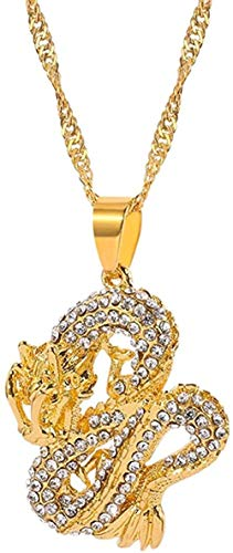 YOUZYHG co.,ltd Gothic Dragon Pendant Necklaces Women Gold Color Jewelry Cubic Zirconia Mascot Ornaments Lucky Choker Necklace Men Gift
