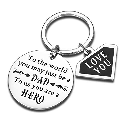 Aizza Fathers Day Gifts Daddy Birthday Keychain for Dad from Daughter Son to Us You Are A Hero I Love You Gift for Step Dad Father in Law Wedding Anniversary Present from Wife for Men Him