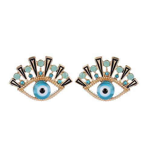 Wedsd Pendientes de aleación Pendientes largos para mujer 1 par de diamantes de imitación con incrustaciones, ojos azules, pendientes, regalo de joyería para la novia de la madre