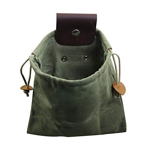 ARVALOLET Futtersuchtasche, Faltbare Bushcraft-Tasche aus Leder und Segeltuch,Handgefertigte Ledergürteltasche mit faltbarer schwerer Kordelzug-Werkzeugtasche für Camping im Freien