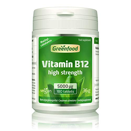 Greenfood Vitamine B12 (methylcobalamine), 5000 µg, hoog gedoseerd, 180 tabletten, vegan - voor meer energie. ZONDER kunstmatige toevoegingen. Zonder gentechniek.