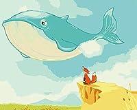 油絵 数字キットによる デジタル インテリア キャンバスの油絵子供 ホーム オフィス装飾 40x50センチ-クジラのキツネ_フレームレス
