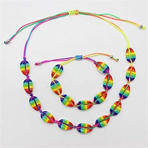 Firecolor 2Pcs Bohemia Shell Bracelet Necklace Multicolor Rope Adjustable Choker Collar Necklaces Anklet Set