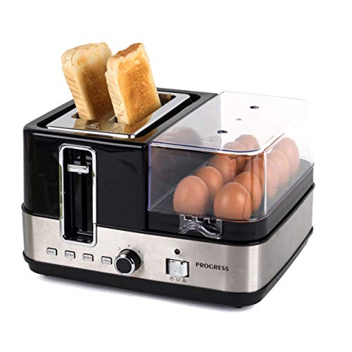 Progress EK3132PVDE-GERMAN All-in-one Breakfast Maker with European Plug, Chrome/Black