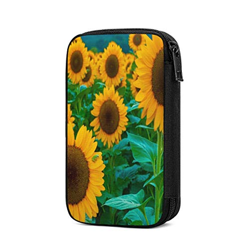 Travel Cable Organizer Bag Cute Full Bloom of Sunflower Electronics Accessories Pouch Bag Carrying Case Protective Bank Pouch Storage Bag for Hard Drives, Cable, Charger, Phone, USB, SD Card