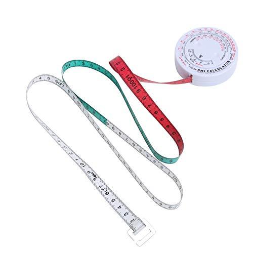 Bediffer Cinta de IMC resistente a altas temperaturas no tóxica de plástico y PVC, calculadora de pérdida de peso de 150 cm, ideal para medir la forma del cuerpo