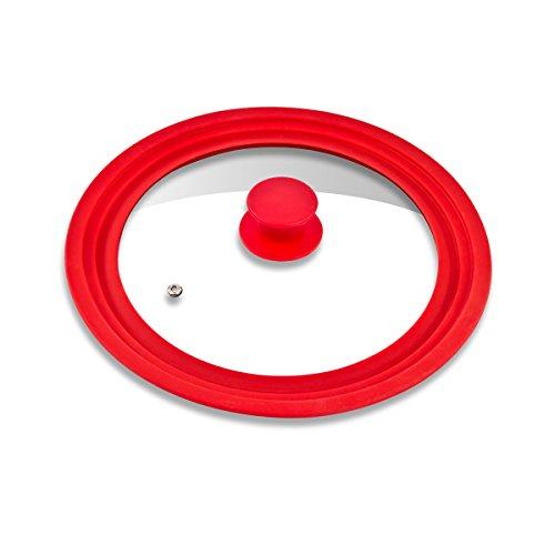 bremermann Coperchio Universale in Vetro con Bordo in Silicone, 24/26/28 cm, Medio (Rosso)