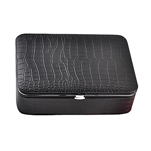 JIEERCUN Caja de joyería portátil para Mujeres Organizador de joyería de Viaje para Collar Anillos de Pendiente PU Caja de la joyería de Cuero Cajas de joyería (Color : Black)