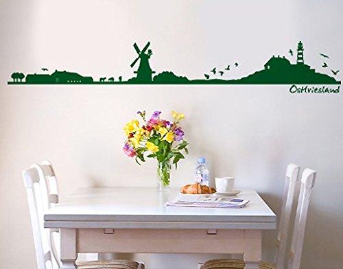 Wandtattoo Nr. SF492 Ostfriesen-Silhouette, Farbe: Schwarz; Maße: 19 cm x 122 cm