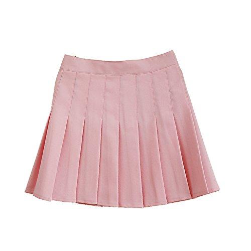 Women School Uniforms plaid Pleated Mini Skirt Light Pink a 2