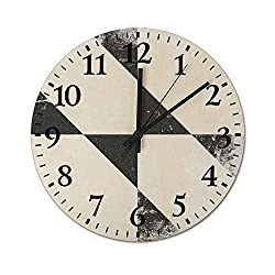 TattyaKoushi Rustic Country 13 Inch Wooden Wall Clock Silent & Non-Ticking Easy to Read Decor Round Wall Clock 13 Inch