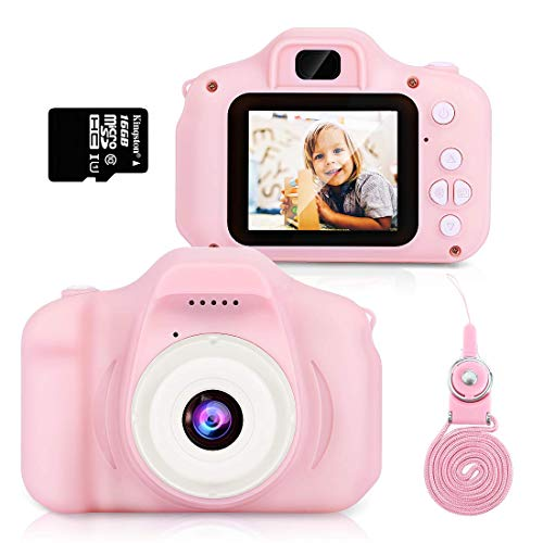 Cámara Digital para Niños, Hommie 8MP/1080p Doble Lente Camara Fotos Niña, 2.0HD Cámara Digitale Selfie para Niña de Tarjeta 16GB, Cámara para Niños de 3-12 Años,Cámara para Niña, Rosa