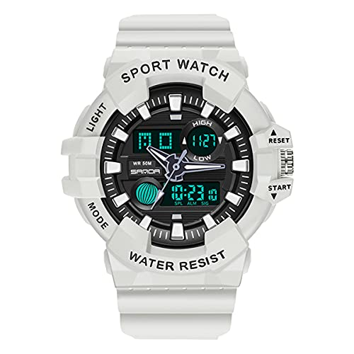 Unisex Watches, L'ananas Men Women Sports Multifunctional Military Special Troops LED Wristwatches (Mujeres-Blanco)