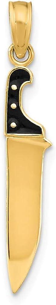 Solid 14k Yellow Max 80% OFF Gold Black Enamel Penda Ranking TOP20 3-D Butcher Charm Knife