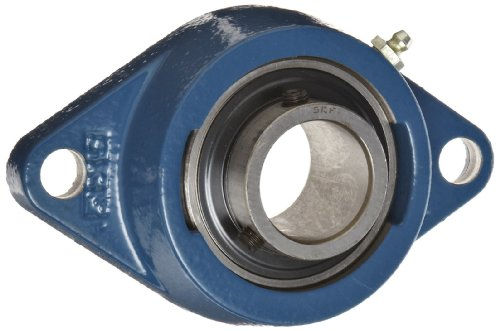SKF FYT 1.1/4 ATF Ball Bearing Flange Unit, 2 Bolts, Setscrew Locking, Regreasable, Contact Seal, Cast Iron, Inch, 1.25