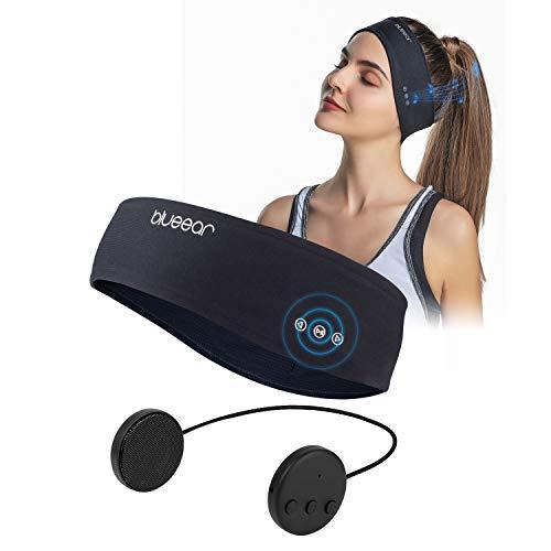 Bluetooth Musik Sport Stirnband Headband mit drahtlosem Kopfhörer 8 Stunden Musikspieler mit Einer Call-Funktion Geeignet für Outdoor-Sportarten (Black, One Size)