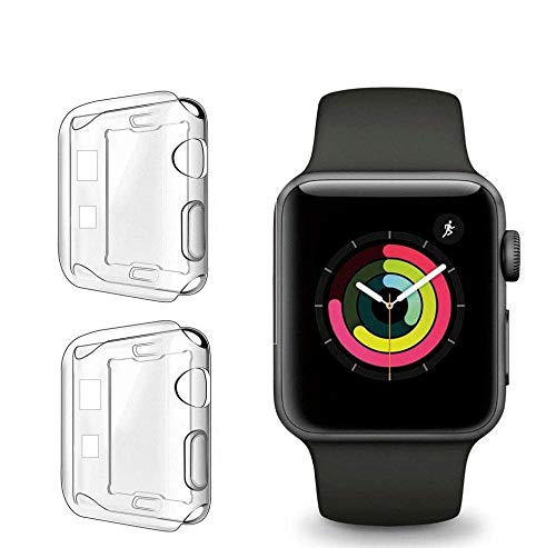 Case Compatible for Apple Watch Series SE 6 5 4 3 Screen Protector 40mm 44mm 38mm 42mm,[2 Pack] Soft TPU HD Clear Ultra-Thin Overall Protective Cover Case