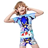 Sonic The Hedgehog Little Boys' Two Piece Swimsuit Rash Guard and...