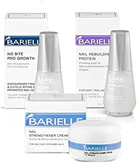 Barielle Nail Deluxe 3-Piece Collection: No Bite Pro Growth .5 oz, Nail Strengthener Cream 1 oz. & Rebuilding Protein .5 oz.