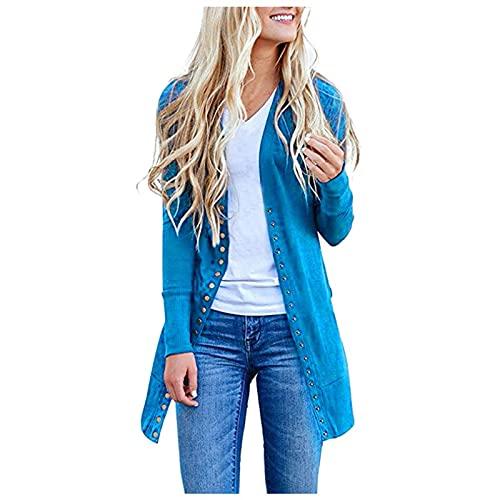 Cappotti casual da donna, stile vintage, tinta unita, per autunno e casual, a-blu, XL