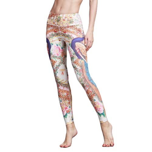 QTJY Pantalones de Yoga de Color para Mujer, Leggings Ajustados de Cintura Alta para Correr, Pantalones Deportivos elásticos para Exteriores, Pantalones Deportivos A XL