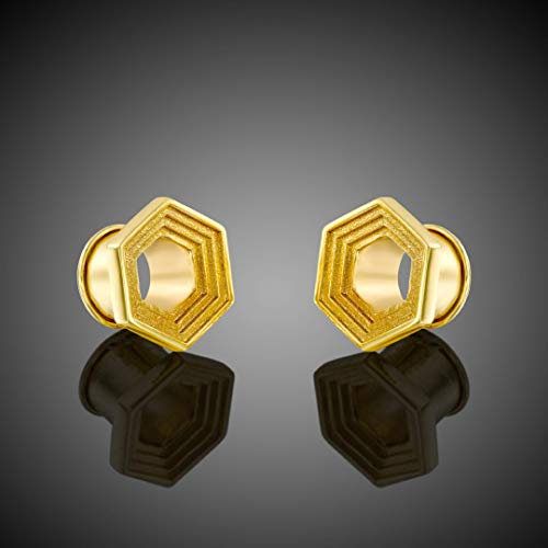 Tunnel Plug Gauge Jewelry, Brass Geometric Boho Ear Tunnel, Unique Statement Stretch Body Piercing, 4mm 6mm 8mm 10mm 12mm, Handmade Gauged Earring, 6G 2G 0G 00G 1/2'G