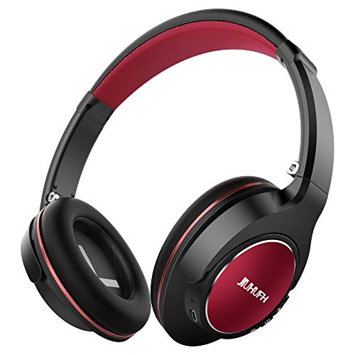JIUHUFH Wireless Headphones Over Ear, Closed Back HiFi Headphones W/20-Hrs Playtime, Lightweight Foldable Stereo Bluetooth Headset W/Mic Compatible with iPhone/Android Phone/Tablet/iPad - Black Red