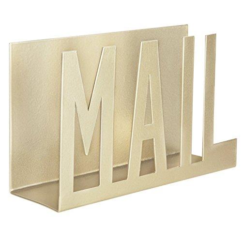 MyGift Modern Brass-Tone Metal Cutout-Design Mail Holder