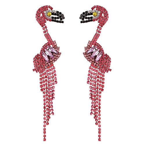 QTKJ Un par de pendientes largos para mujer, diseño de flamenco, color rosa